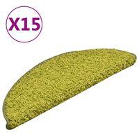 vidaXL Laiptų kilimėliai, 15vnt., žalios spalvos, 56x17x3cm