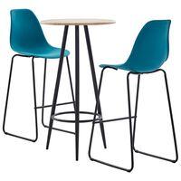 vidaXL Baro baldų komplektas, 3 dalių, turkio spalvos, plastikas