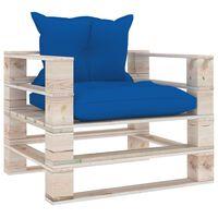 vidaXL Sodo sofa iš palečių su mėlynomis pagalvėlėmis, pušies mediena