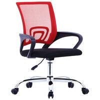 vidaXL Biuro kėdė su tinkliniu atlošu, raudonos spalvos, audinys