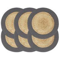 vidaXL Stalo kilimėliai, 6vnt., natūralios ir antracito spalvų, 38cm