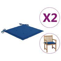 vidaXL Sodo kėdės pagalvėlės, 2vnt., mėlynos, 50x50x4cm, audinys