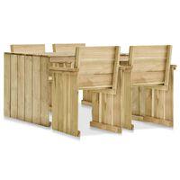 vidaXL Lauko valgomojo komplektas, 5 dalių, impregnuota pušies mediena