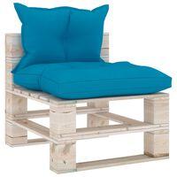 vidaXL Vidurinė sofos dalis iš palečių su pagalvėlėmis, pušies mediena