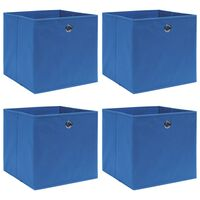 vidaXL Daiktadėžės, 4vnt., mėlynos spalvos, 32x32x32cm, audinys