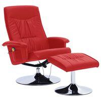 vidaXL Atlošiamas masažinis krėslas su pakoja, raud. sp., dirbt. oda