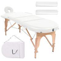 vidaXL Sulankstomas masažinis stalas, baltas, 4cm su 2 atramomis, ovalas