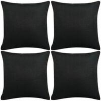 vidaXL Pagalvėlių užvalkalai, 4 vnt., lino imitacija, juodi, 80 x 80 cm