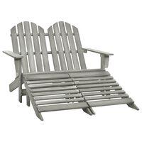 vidaXL Dvivietė sodo Adirondack kėdė ir otomanė, pilka, eglės mediena