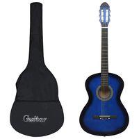 """vidaXL Klasikinė gitara su dėklu pradedantiesiems, mėlyna, 4/4 39"""""""
