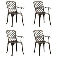 vidaXL Sodo kėdės, 4vnt., bronzinės spalvos, lietas aliuminis