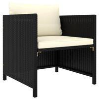 vidaXL Sodo sofa su pagalvėlėmis, juodos spalvos, poliratanas