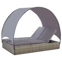 vidaXL Dvivietis saulės gultas su stogeliu, pilkas, poliratanas