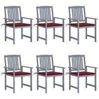 vidaXL Sodo kėdės su pagalvėlėmis, 6vnt., pilkos, akacijos masyvas