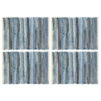vidaXL Stalo kilimėliai, 4 vnt., džinsinė mėlyna, 30x45cm, medvilnė