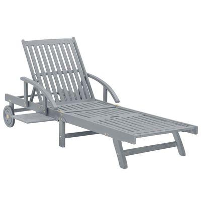 vidaXL Sodo saulės gultas, pilkos spalvos, akacijos medienos masyvas