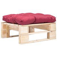 vidaXL Sodo otomanė iš paletės su raudona pagalve, natūrali, mediena