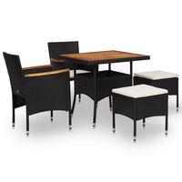 vidaXL Lauko baldų komplektas, 5 dalių, juodas, ratanas ir akacija
