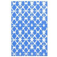 vidaXL Lauko kilimas, mėlynos ir baltos spalvos, 190x290cm, PP
