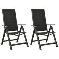 vidaXL Sodo kėdės, 2vnt., juodos, tekstilenas ir aliuminis