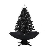 vidaXL Eglutė su sniego funkcija ir skėčio pagrindu, juoda, 140cm, PVC