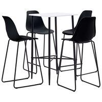 vidaXL Baro baldų komplektas, 5 dalių, juodos spalvos, plastikas