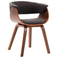 vidaXL Valgomojo kėdė, pilkos sp., išlenkta med. ir audinys