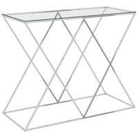 vidaXL Šoninis staliukas, sidabrinis, 90x40x75cm, plienas ir stiklas