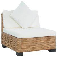 vidaXL Sofa be porankių su pagalvėlėmis, natūralus ratanas