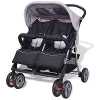 vidaXL Vaikiškas vežimėlis dvynukams, plienas, pilkas/juodas