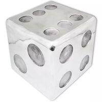vidaXL Taburetė/staliukas, kauliuko formos, aliuminis, sidabro spalvos