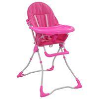 vidaXL Aukšta maitinimo kėdutė, rožinės ir baltos spalvos