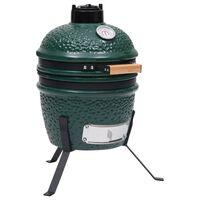 vidaXL Keramikinė Kamado kepsninė-rūkykla, 56 cm, žalia spalva