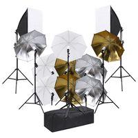 vidaXL Fotostudijos rinkinys su šviestuvais ir šviesdėžėmis