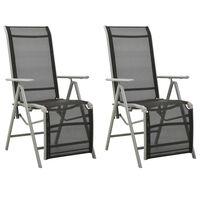 vidaXL Sodo kėdės, 2vnt., sidabrinės, tekstilenas ir aliuminis
