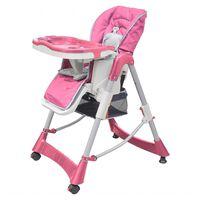 vidaXL Mažylio maitinimo kėdutė, rožinė, reguliuojamo aukščio