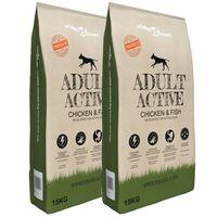 vidaXL Sausas maistas šunims, Adult Active Chicken & Fish, 2vnt., 30kg
