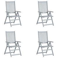 vidaXL Atlošiamos sodo kėdės, 4vnt., pilkos, akacijos medienos masyvas