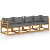 vidaXL Keturvietė sodo sofa su pagalvėlėmis, akacijos medienos masyvas
