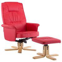 vidaXL Krėslas su pakoja, raudonos spalvos, dirbtinė oda