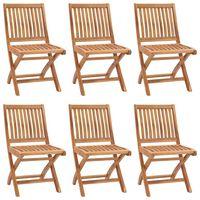 vidaXL Sulankstomos sodo kėdės, 6vnt., tikmedžio medienos masyvas
