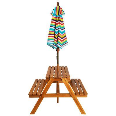 vidaXL Iškylos stalas vaikams su skėčiu, 79x90x60cm, akac. med. mas.