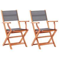 vidaXL Sodo kėdės, 2vnt., pilkos, eukalipto masyvas ir tekstilenas
