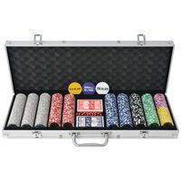 vidaXL Pokerio rinkinys su 500 žetonų su vertėmis, aliuminis