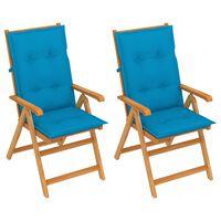 vidaXL Sodo kėdės su mėlynomis pagalvėlėmis, 2vnt., tikmedžio masyvas