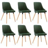 VidaXL Valgomojo kėdės, 6vnt., tamsiai žalios, aksomas (3x323054)
