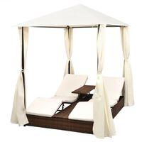 vidaXL Dvivietis saulės gultas su užuolaidomis, poliratanas, rudas