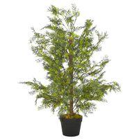 vidaXL Dirbtinis augalas-kiparisas su vazonu, žalios spalvos, 90cm