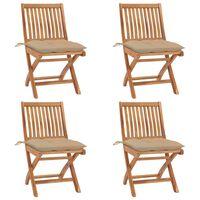 vidaXL Sulankstomos sodo kėdės su pagalvėlėmis, 4vnt., tikmedis