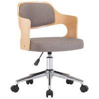 vidaXL Pasukama biuro kėdė, taupe spalvos, išlenkta mediena ir audinys